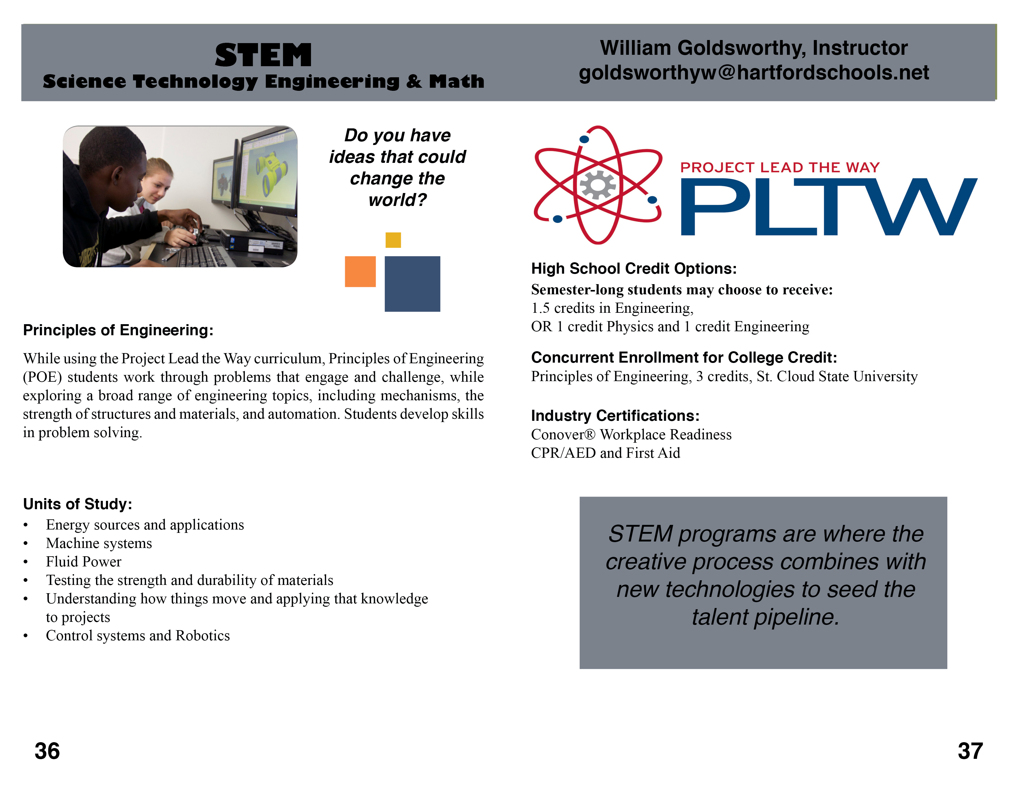 stem hartford area career technology center rh hactc com Principles of Engineering Textbook VEX Principles of Engineering